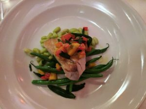 Pan-roasted albacore tuna with flageolet beans, sage, and red peppers al agrodolce.