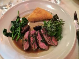 Grilled Sonoma County duck breast with fried sweet corn polenta, broccoli di Ciccio, and Black Mission figs.