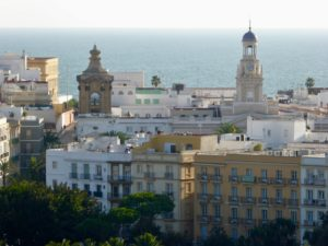 Cadiz is surrounded by water on three sides.